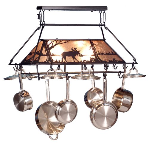 Pot rack with light and moose