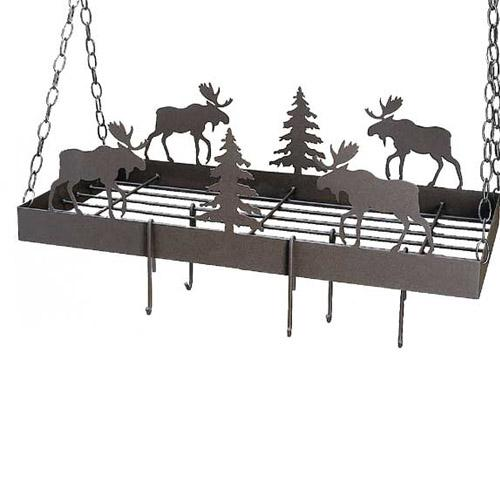 Custom pot rack with moose and pine trees