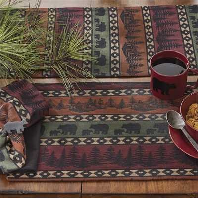 Mountain Bear placemats with bears, trees and log cabin