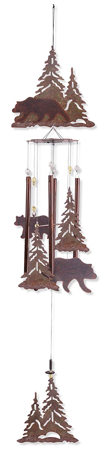 Wind chime with bears and trees