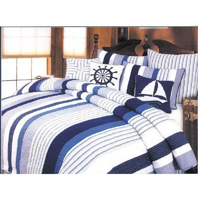 Nantucket blue and white stripe comforter
