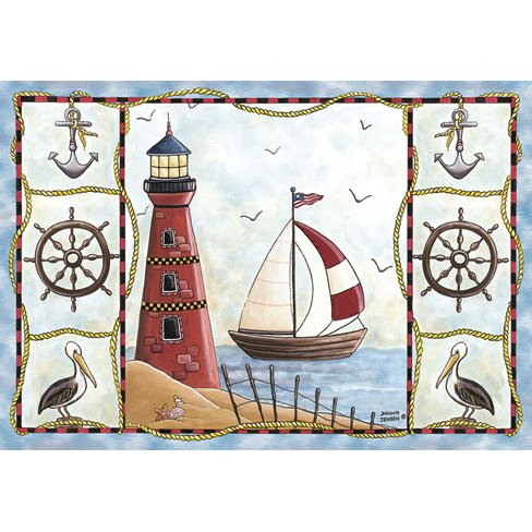 whimsical area rug with pictures of a lighthouse, sailboat, ship's wheels, anchors and pelicans.