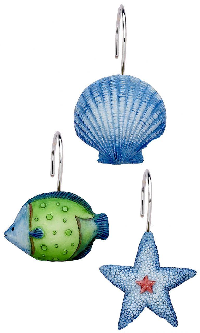 colorful fish, seashell and starfish shower curtain hooks