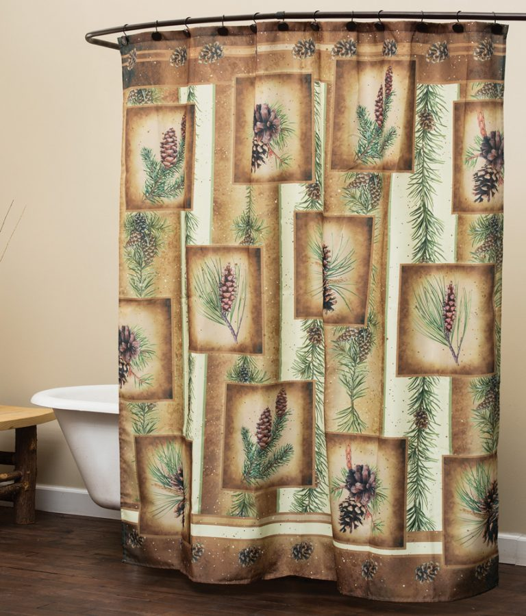 pinecones and pine boughs on shower curtain