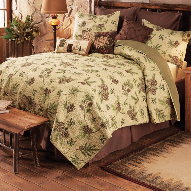 Pinecone Valley quilt on bed