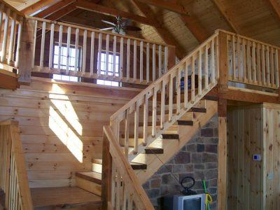 Rustic railing in log home