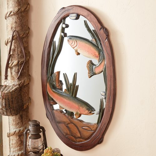 Oval mirror with carved rainbow trout