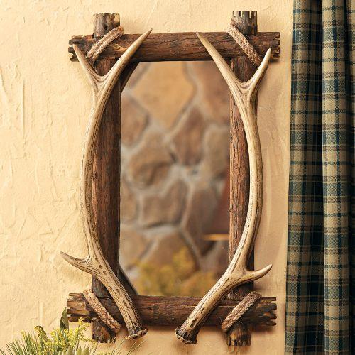 Rectangular deer antler mirror