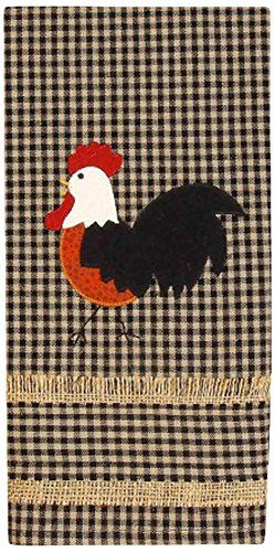 Rise and Shine appliqued rooster towel