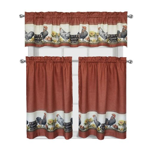 Roosters and sunflowers on tier curtains