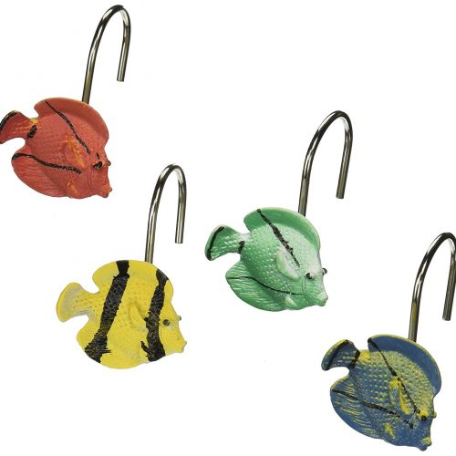 colorful tropical fish shape shower curtain hooks