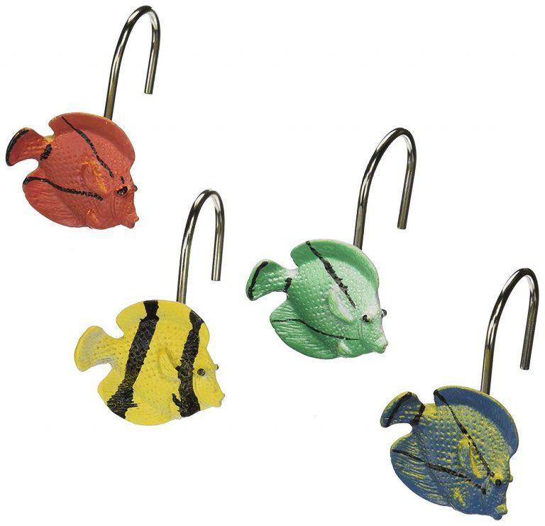 colorful tropical fish shape shower curtain hooks