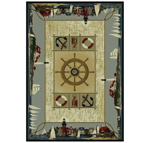 coastal rug with a ship's wheel, anchors, lanterns and life savers in the center