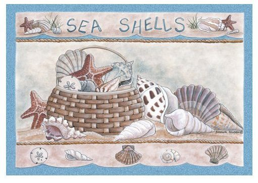 coastal rug has pretty natural colors and artistic seashells in a natural basket on a sandy shore.
