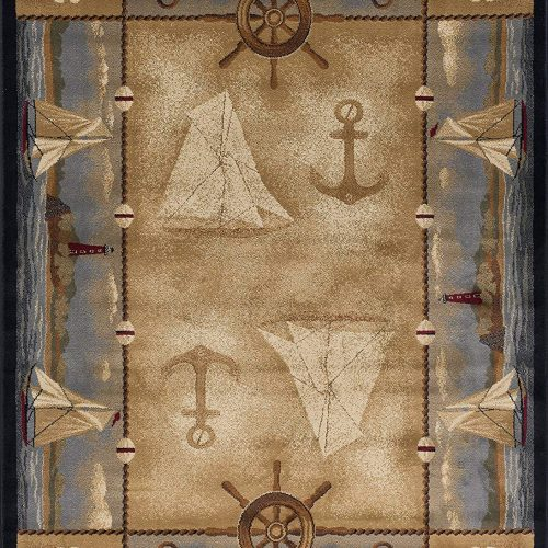coastal rug with sailboats, anchors, shells, and lighthouses in soft neutral shades