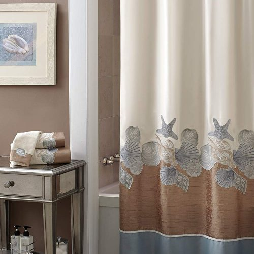 sea shells and starfish on an off white shower curtain