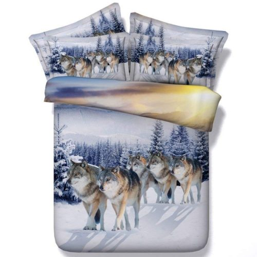 Snow Wolf bedding on bed