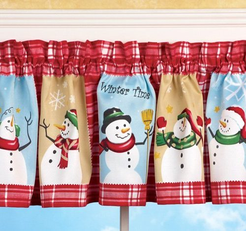 Brightly colored valance with snowmen