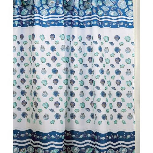navy blue shower curtain with lots of seashells in ocean aqua and blue