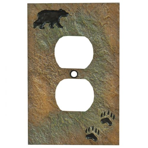Faux stone bear outlet cover