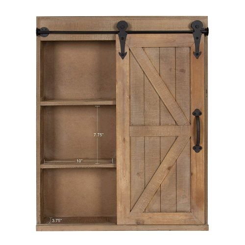 Barn door storage cabinet with mirror on the right