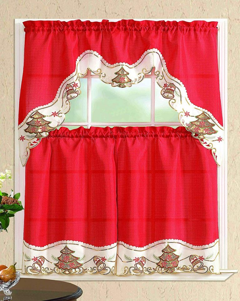 Tier curtains and swag valance with Christmas trees and swag valance