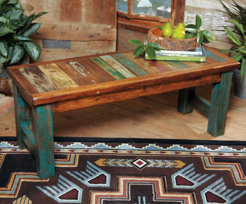 Bench made from reclaimed wood, with turquoise legs