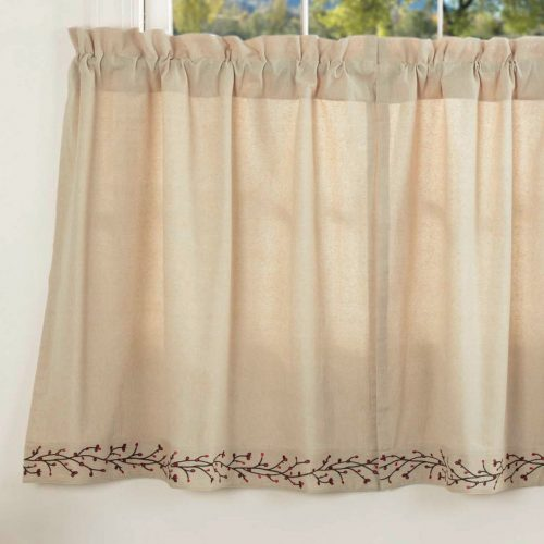 Twig and berry embroidered tier curtains