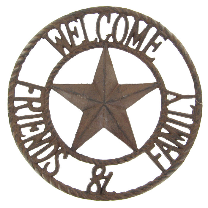 Western star cast iron welcome sign