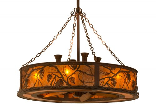 circular fan housing Chandel-Air with amber mica shade and pine cones and pine branches.