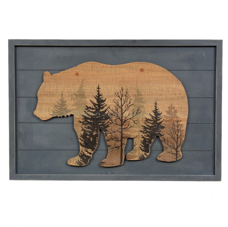 Wood bear lodge sign with blue background