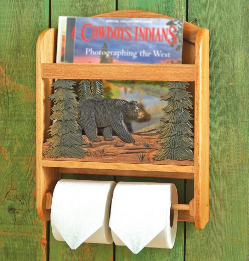 Wood bear magazine rack