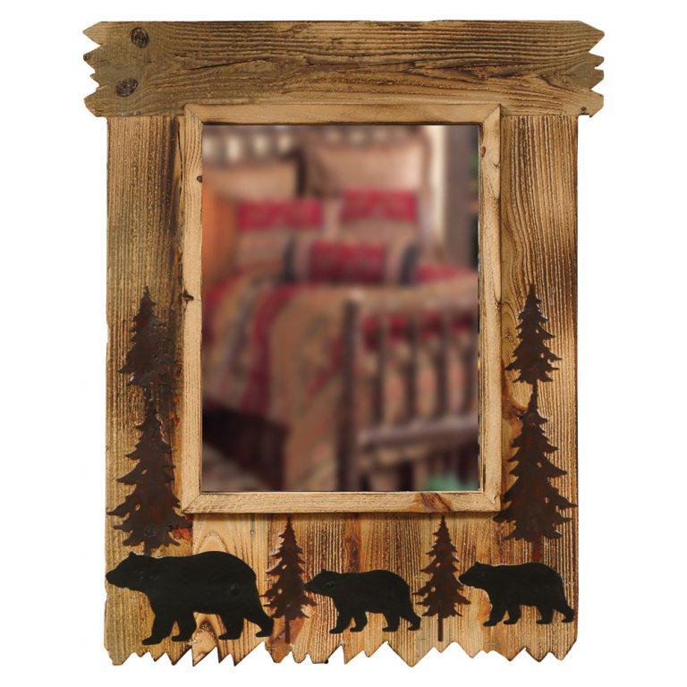 wood black bear mirror with pine trees