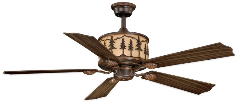 Ceiling Fan has a burnished bronze finish with amber flake glass and pine tree pattern on motor housing