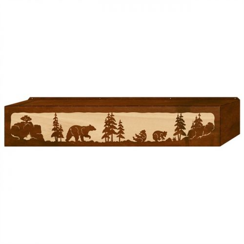 Bear family wood and metal window valance