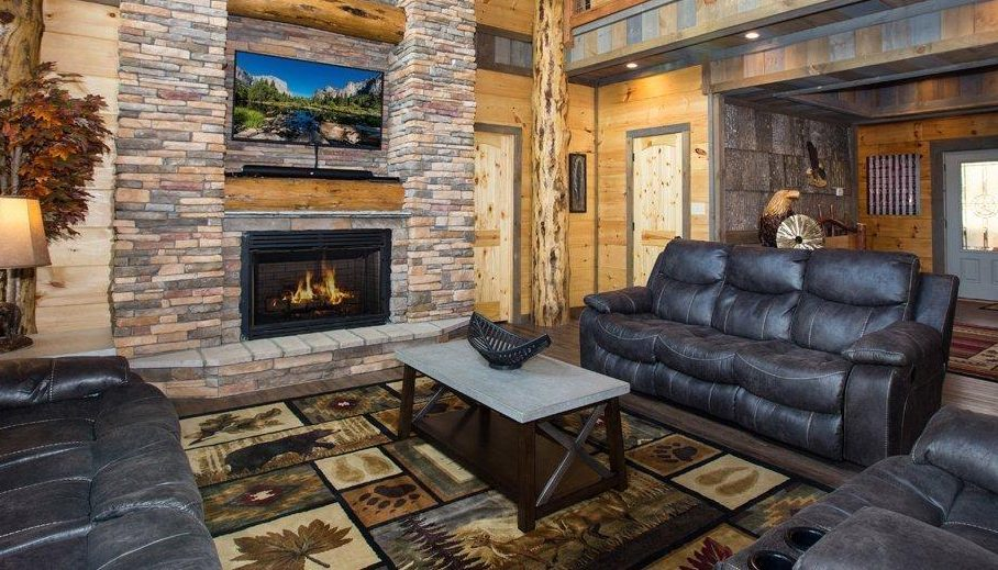 Cabin rugs like this one add warmth to a log cabin room