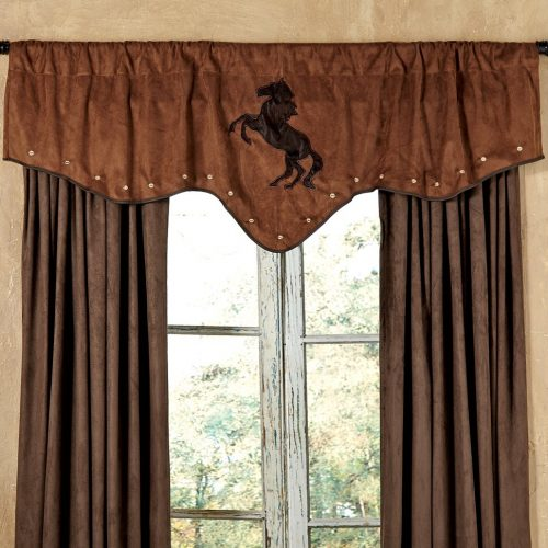 Brown suede valance with chestnut horse