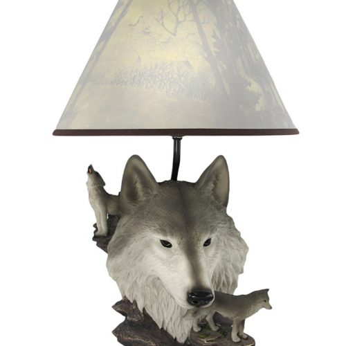Gray wolf table lamp