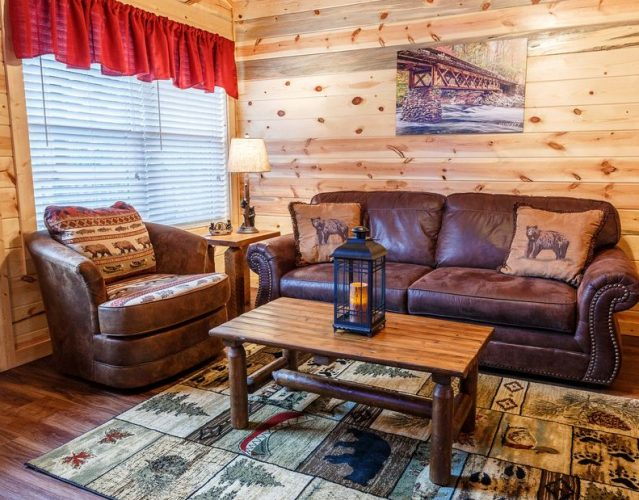 Rustic cabin furniture in a log cabin