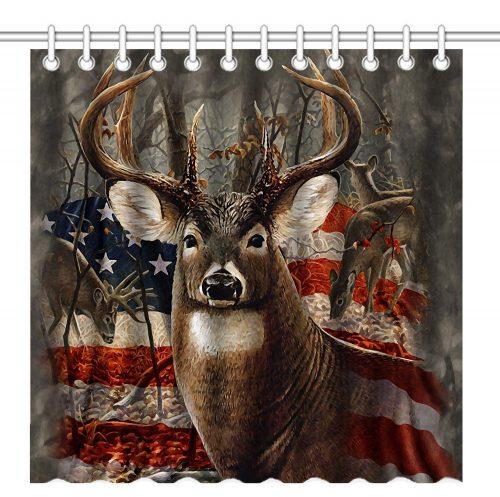 Patriotic deer shower curtain with American flag