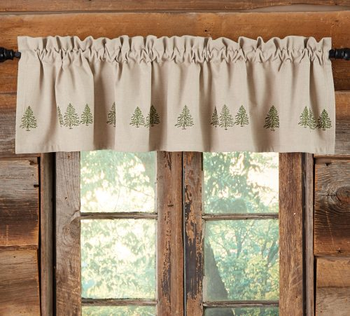 Pine trees on embroidered taupe valance