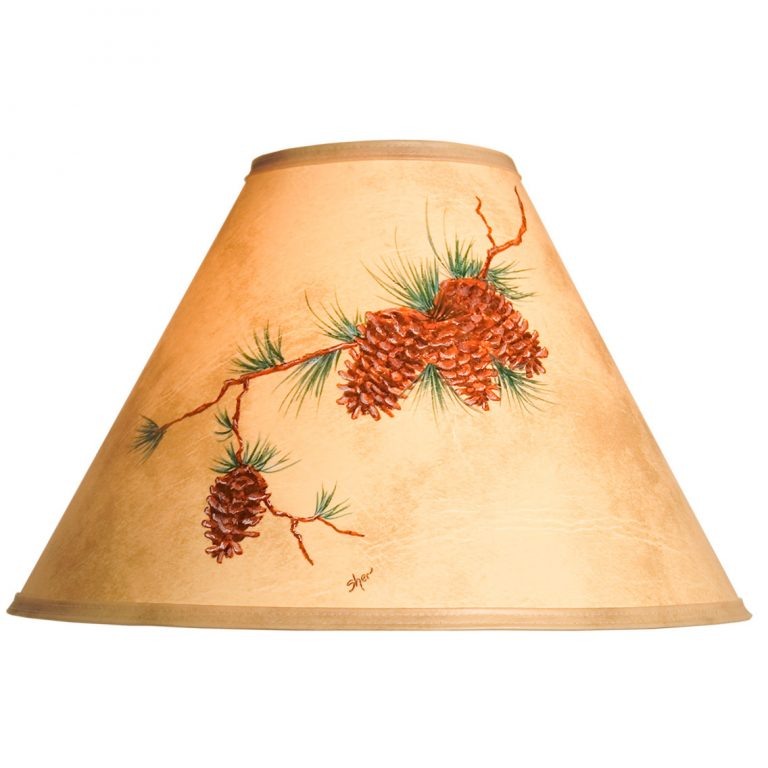 Hand painted pine cone lamp shade