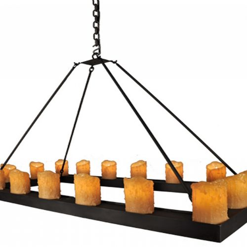 Rectangular chandelier with resin candles