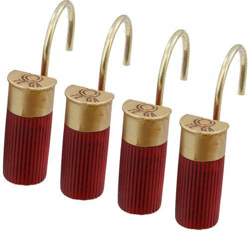 Red shotgun shower curtain hooks