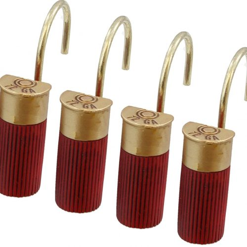 Red shotgun shower curtain hooks
