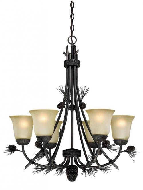 Pretty 6 light chandelier with pine cone accents