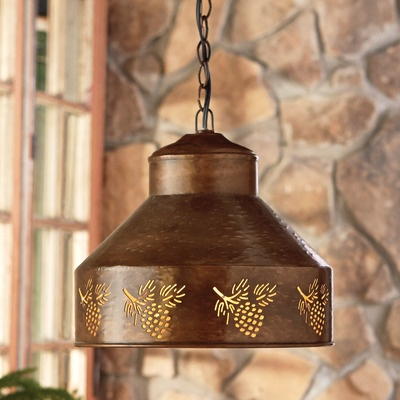 Spruce creek metal pendant with pine cone cut outs